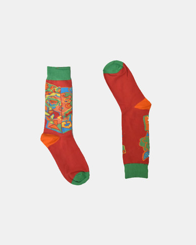 SKA Fashion Socks Green - Red