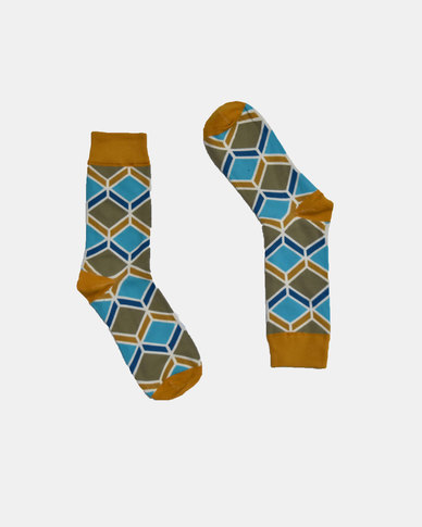 SKA Diamond Fashion Socks Yellow