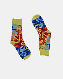 SKA Geometric Fashion Socks Yellow