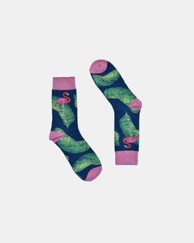 SKA Flamingo Fashion Socks Dark Blue