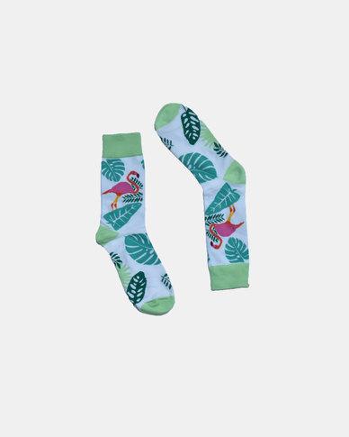 SKA Flamingo Fashion Socks White