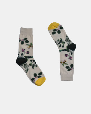 SKA Bees Fashion Socks Beige