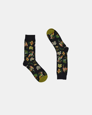 SKA Birds Fashion Socks Dark Green