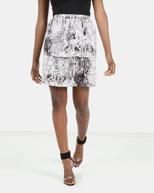 Barbara McKenzie Snake Print Layered Skirt