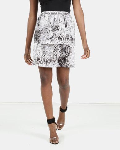 Barbara McKenzie Snake Print Layered Skirt