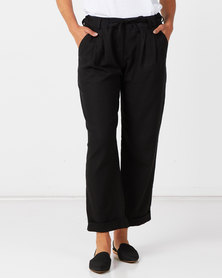 Nucleus Linen Fold Up Pants in Black