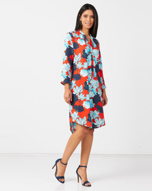 Nucleus Linen Stoep Swing Dress in Orange Floral