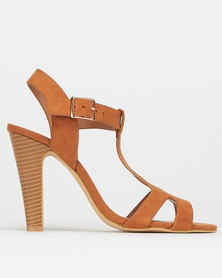 Utopia Gold Block High Heels Brown