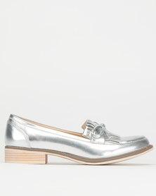 Utopia Fringe Loafers Silver