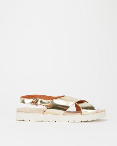 Utopia Mirror Metallic Crossover Sandals Gold
