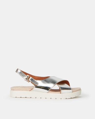 Utopia Mirror Metallic Crossover Sandals Silver