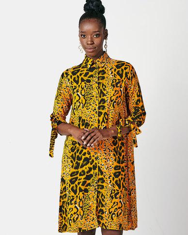 Utopia Animal Print Shirt Dress Mustard