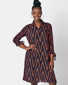 Utopia Zig Zag Print Shirt Dress Navy/Rust