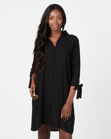 Utopia Viscose Shirt Dress Black