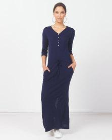 Kay & May J Patricia Merino Wool Knitwear long Jogger Dress - Navy