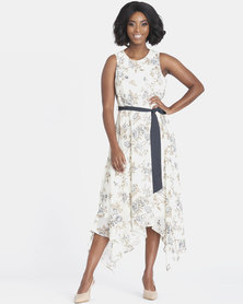 Contempo Printed Hanky Hem Dress Ivory