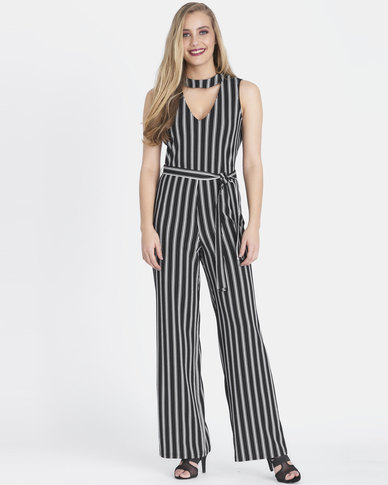 Contempo Printed Stripe Jumpsuit Black