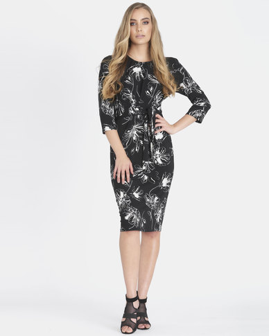 Contempo Printed Front Knot  Dress Black