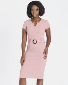 Contempo Tortoise Shell Buckle Dress Blush