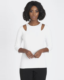Contempo Top With Cutout Detail Ivory