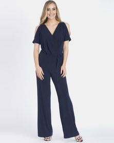 Contempo Cold Shoulder Jumpsuit Navy