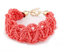 Urban Charm Boldly Boho Sead Bead Plaited Bracelet - Coral Reef