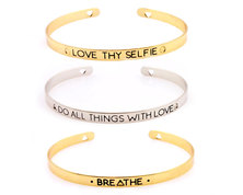 Urban Charm Inspirational Mantra Skinny Cuff Bangle Set of Three - Silver/Gold