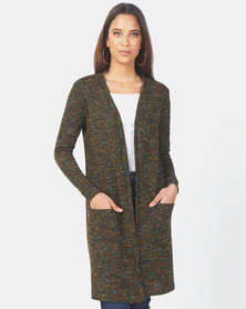 JanaS Bianca long cardigan in scattered green