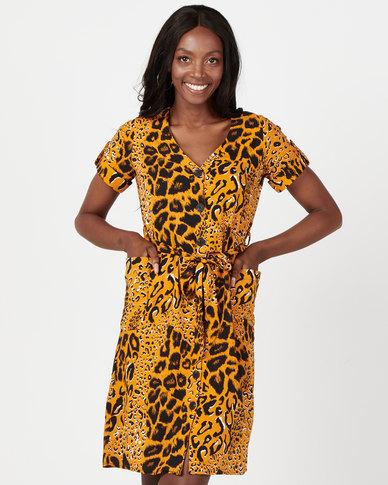 Utopia Animal Print Flare Dress With Pockets Mustard