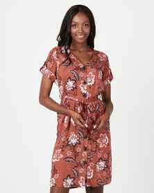 Utopia Paisley Print Flare Dress With Pockets Rust