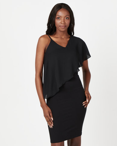 Utopia Dress With Georgette Overlay Black