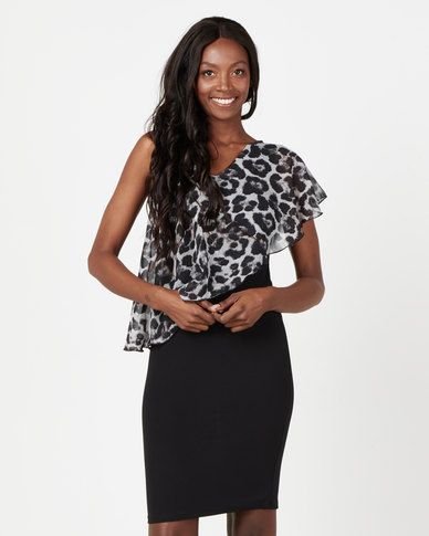 Utopia Double Layer Dress With Animal Print Overlay Black