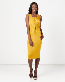 Utopia Knit Tie Front Dress Mustard