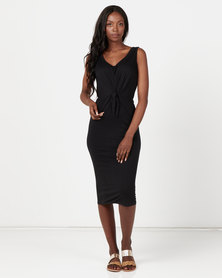 Utopia Knit Tie Front Dress Black