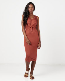 Utopia Knit Tie Front Dress Rust