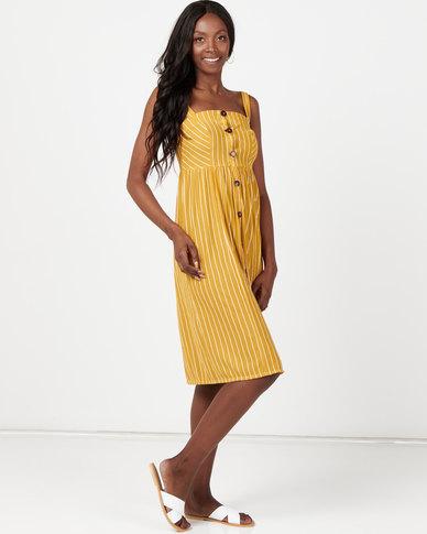 Utopia Stripe Button Through Dress Mustard
