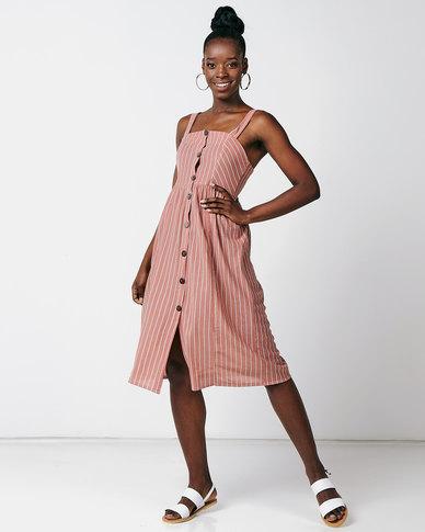 Utopia Stripe Button Through Dress Salmon