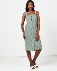 Utopia Stripe Button Through Dress Sage
