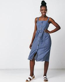 Utopia Stripe Button Through Dress Blue