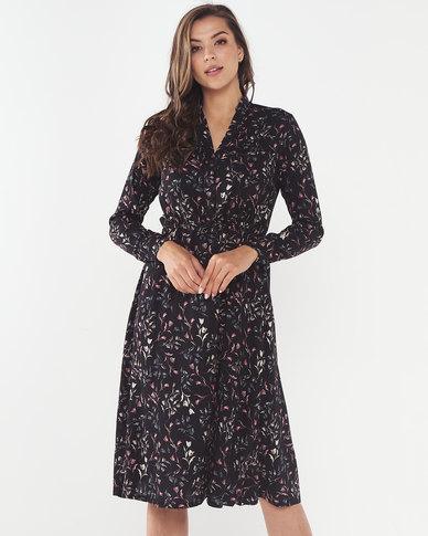 Utopia Floral Print Maxi Shirt Dress Black