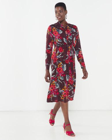 Utopia Floral Print Maxi Shirt Dress Multi