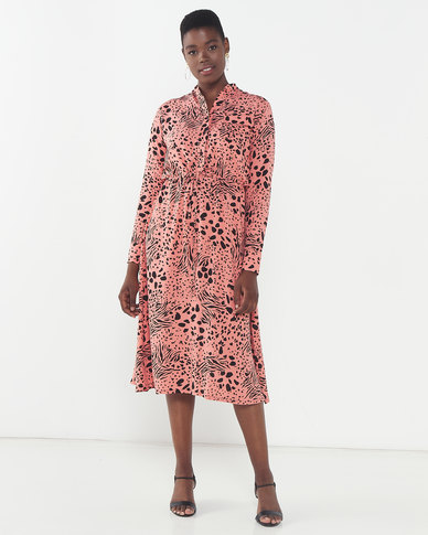 Utopia Animal Print Maxi Shirt Dress Rust