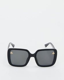 You & I Smoke Square Oversized Bee Sunglasses Black
