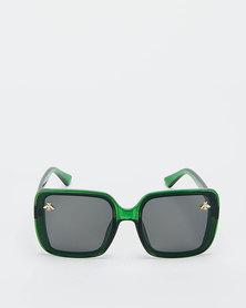 You & I Smoke Square Oversized Bee Sunglasses Trans Emerald