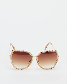 You & I Cateye With Textured Edge Detail Sunglasses Trans Caramel