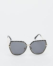 You & I Smoke Cateye With Textured Edge Detail Sunglasses Black
