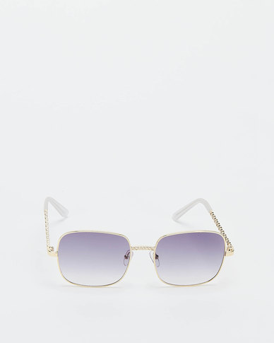 You & I Squared Oversized with Plant Deatil Sunglasses Light Gold Grey