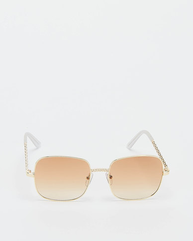 You & I Squared Oversized with Plant Deatil Sunglasses Light Gold Brown