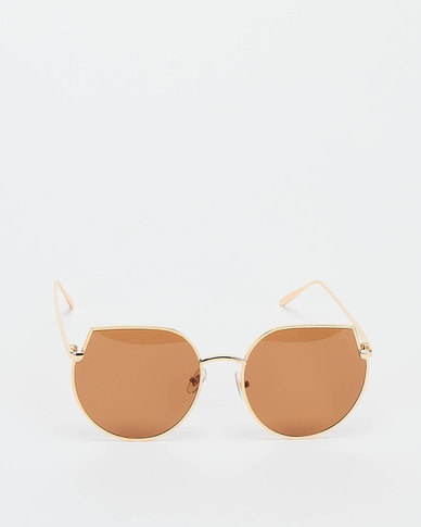 You & I Cut Out Cateye Sunglasses Light Gold Brown