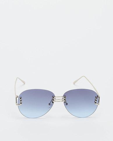 You & I Oversized Rounded Rimless Sunglasses Light Gold Dark Blue